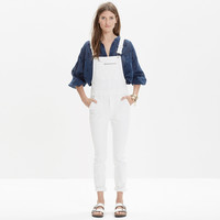 White Denim Side-Zip Overalls