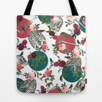 Skull Rose and Polka Dot Tote Bag by Paula Belle Flores