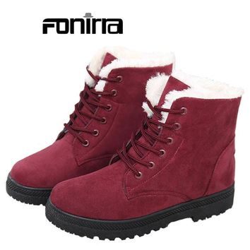 Women Solid Round Toe Lace-up Ankle Boots 2016 Winter Fashion Warming Plus-Size 35-43