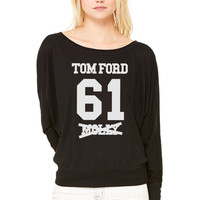 I ROCK TOM FORD WOMEN'S FLOWY LONG SLEEVE OFF SHOULDER TEE