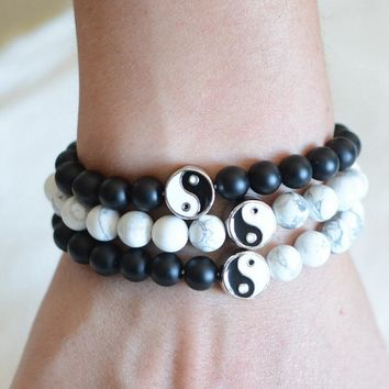 1Pcs New Distance Bracelet Classic Natural Stone White And Black Yin Yang Beaded Bracelets For Men Women Best Friend Jewelry