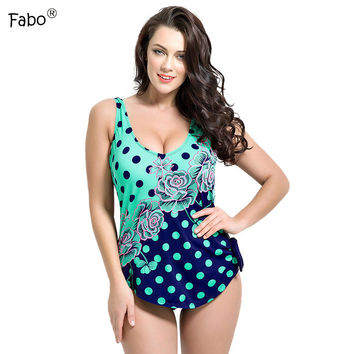 Fabo 2017 Sexy Women One Piece Swimwear Large Size Swimsuit Dot Monokini Push Up Plus Size Swim Wear Girls Bathing Bodysuit