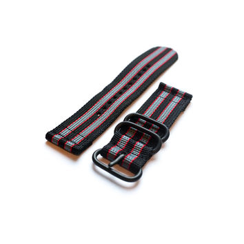 "Smart Watch Strap PVD Black Red and Grey ""James Bond"""