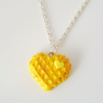 Miniature Food Necklace Heart Waffle with Sterling Silver Chain, Food Jewelry, Waffle, Heart, Butter
