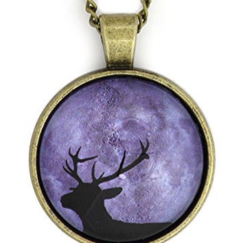 Deer Stag Moon Necklace Gold Tone NW36 Buck Antlers Lunar Photo Pendant Fashion Jewelry