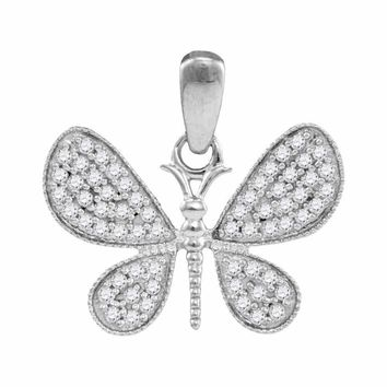 10kt White Gold Women's Round Diamond Butterfly Bug Wings Pendant 1-3 Cttw - FREE Shipping (US/CAN)