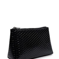 Textured Faux Patent Makeup Bag