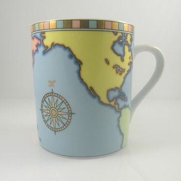 SALE!!! ~ Tiffany&Co Coffee Mug ~ Tea cup ~ World Map ~ Globe TIFFANY Co Made in Japan~ Was 45.00~NOW 35.00