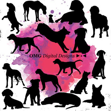 15 Dog Digital Clipart, Clipart Design Elements, Instant Download, Black Silhouette Clip art