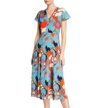 2019 Spring Cap Sleeve V Neck Floral Print Mid-Calf Length Dress Luxury Runway Dresses M240002A3