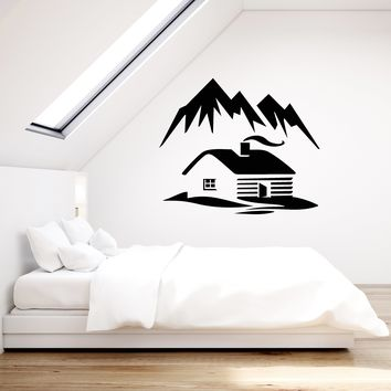 Vinyl Wall Decal Cabin Mountains Winter Nature Room Decoration Stickers Mural (ig5416)