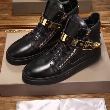 Giuseppe Zanotti Men's Leather Fashion High Top Sneakers Shoes