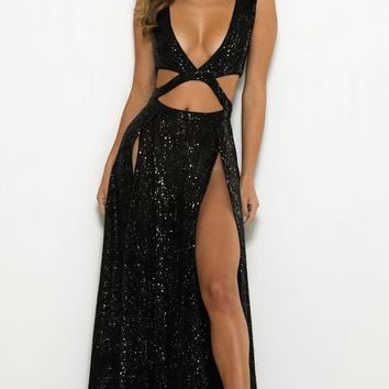 Dreaming Of You Black Sequin Sleeveless Plunge V Neck Cut Out Double Slit Maxi Dress