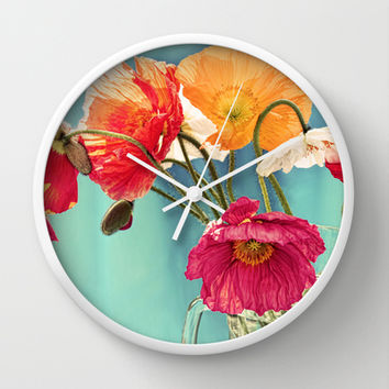 Bright Dancers - Vintage toned poppy flower still life Wall Clock by micklyn | Society6