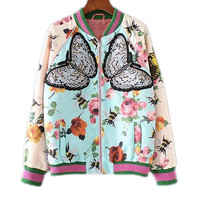 Floral Print Jacket with Butterfly Embroidery