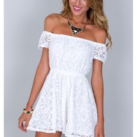 WHITE OFF SHOULDER LACE PLAYSUIT
