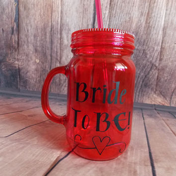Plastic Mason Jar Tumbler Bride To Be Mason Jar Cup Mason Jar Bridal Shower Decor Double Wall Pink Mason Jar Tumbler Mason Jar Wedding