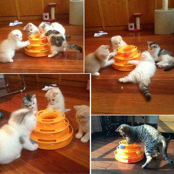 New Sale Anti Slip Orginal Design Amusement Intelligence Dog or Cat Toys Three Tower Of Tracks Turntable Ball Pet Products