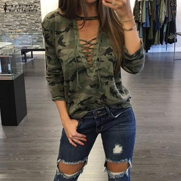 Oversized 2018 ZANZEA Women Sexy Blouses Shirts Long Sleeve Hollow Out Lace Up V Neck Blusas Casual Camouflage Print Tops