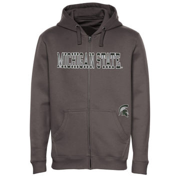 Michigan State Spartans Big & Tall Get Up Full Zip Hooded Sweatshirt - Graphite