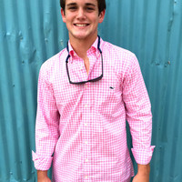 Vineyard Vines Slim Fit Seascope Gingham Tucker Shirt- Beach Rose