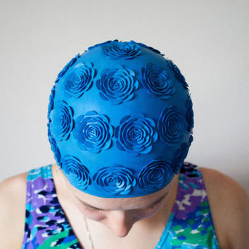 Floral Swimming Cap / Blue Embossed Flowers Retro Bathing Cap / Rare Soviet Vintage Sport Accessory / Swimming Pool Beachwear