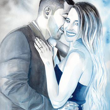 Special GIFT for BOYFRIEND wedding ANNIVERSARY - watercolor couple custom portrait painting, Gift for him, gift for men, gift for girlfriend