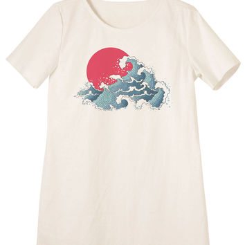 Asian Illustration Of Ocean Waves And Sun Print Vintage Mini Shift Dress WDS_06