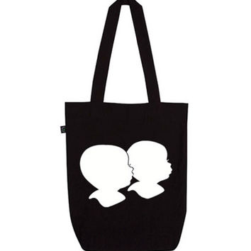 Organic Silhouette Siblings Tote Bag