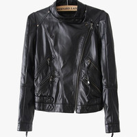 Faux Leather Crop Moto Jacket