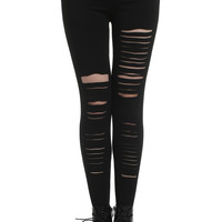 Distressed Metallic Rings Black Leggings
