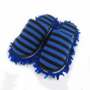 Microfiber Bathroom Cleaning Floor Removable Striped Shoes