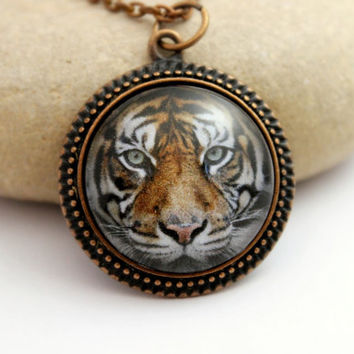 Tiger Amulet , Antique Copper Pendant,Glass Cabochon Pendant With Chain