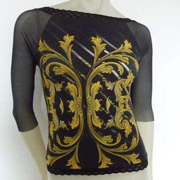 Mesh Sleeves 7/8 and lower Back Tango Top Size US 4/6 Eu 34/36 Tango Chamise Evening Top Stunning psychodelic Designer Print
