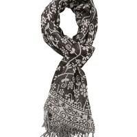 Floral Print Fringe Scarf by Charlotte Russe - Gray Combo