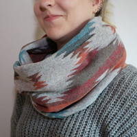 Tribal Print Infinity Scarf, Indie Infinity Scarf, Soft Plaid Infinity Scarf for Fall Weather, Winter Weather, Women's Fashion Scarf