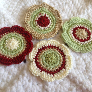"Hand Crochet Flower Appliques Embellishment 3.5"" Coasters-Set of 4-Apple Red, Taupe, Cream, and Greens"