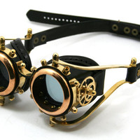 Steampunk Goggles solid brass black leather gears by MannAndCo
