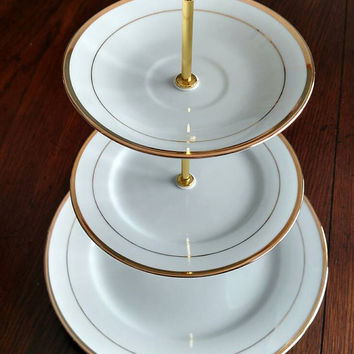 Three tiered dessert stand GOLD ringed, 3 tier cupcake stand, 3 tier vintage plate stand, 3 tiered dessert stand, Tidbit stand