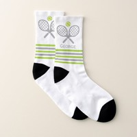 Tennis rackets and ball green and gray stripes socks