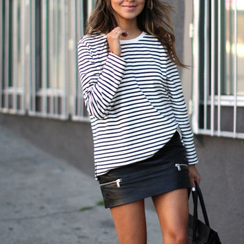 Stripe Long-Sleeve Sweater