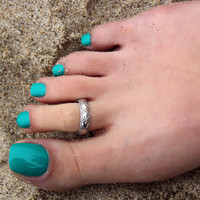 Vintage look sterling silver toe ring Tribal design toe ring adjustable toe ring (T-21) knuckle ring