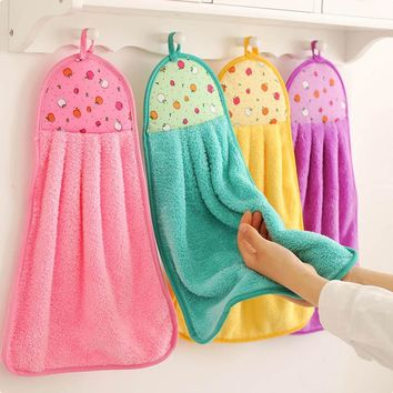 Hanging Kitchen Towel  Coral Velvet Dishcloths Soft Hand Towels Kitchen Accessories Lint-Free Cloth Absorbent Cloth