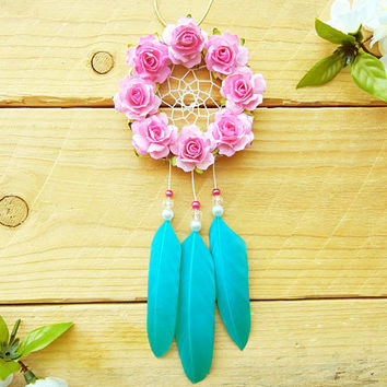 Pink & Turquoise Flower Dreamcatcher: Rearview Mirror Charm, Interior Car Accessory, Car Dreamcatcher, Small Dreamcatcher, Boho Car Decor