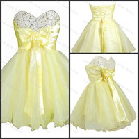 Yellow organza prom dress cocktail dress with bow with sequins lace up back