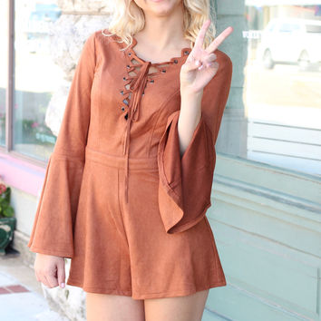 Long Sleeve Lace Up Suede Romper {Cinnamon}