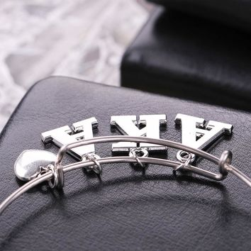 AKA Sorority Alpha Kappa Alpha Letter Charms Love Bangle