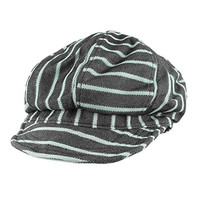 Morehats Stripe Jean Gatsby Newsboy Cabbie Golf Cotton Cap Hat - Jean/Sky Blue Stripe