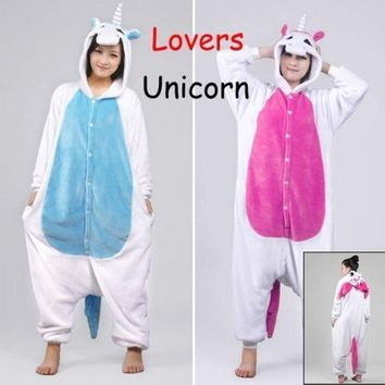 PEAPIX3 New Unicorn Unisex Lovers Flannel Hooded Pajamas Adults Cosplay Cartoon Cute Animal Onesuits  Sleepwear Suit Hoodies Unicorn = 1932280964