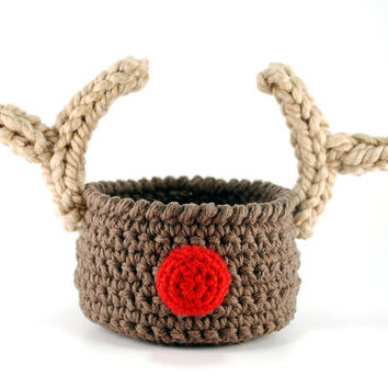 Rudolf Christmas decoration, reindeer crochet bowl, brown crochet bowl with beige antlers, Christmas party decoration, gift basket
